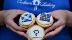 Scottish and Union flag cakes