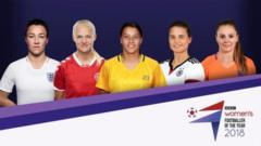 Image showing all five players with BBC Women's Footballer of the Year 2018 logo.