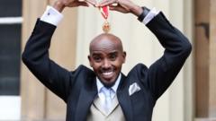 Sir Mo Farah with medal