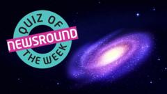 Quiz of the Week logo next to image of a distant galaxy.