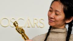 Chloé Zhao with her best director Oscar