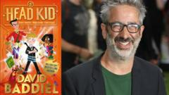 Davvid Baddiel and the front cover of his book