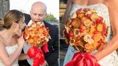 A bride holding a bouquet made out of pizza