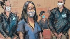 A courtroom sketch of Ghislaine Maxwell appearing in court