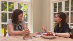 Nikki and her friend Sophie talking