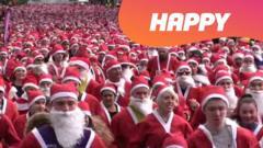 Lots of santa's running