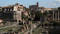 A view of the Coliseum and Roman Forum taken from the Capitoline Hill on October 20, 2020 in Rome, Italy.