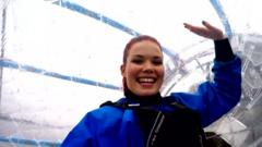 Lindsey in the zorb
