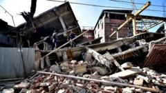 A collapsed building in Imphal, capital of the north-eastern state of Manipur