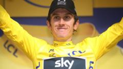 Geraint Thomas of Great Britain and Team Sky Yellow Leader Jersey / Celebration / during the 105th Tour de France 2018, Stage 19 a 200,5km stage from Lourdes to Laruns