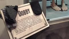Socks at Dobby's statue
