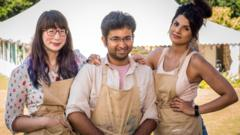 the finalists in The Great British Bake Off, (left to right) Kim-Joy, Rahul and Ruby.
