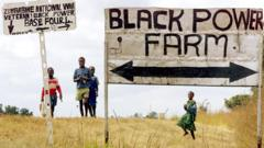 Sign for a farm occupied during Zimbabwe's land reform programme in 2000