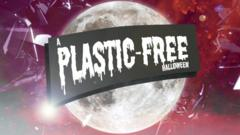A logo showing the moon and the words plastic-free-halloween