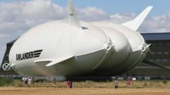 The Airlander 10, the longest aircraft in the world sits outside its hangar