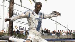 David Beckham's statue outside the LA Galaxy stadium