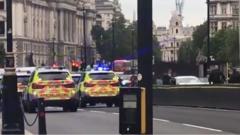 The scene outside Parliament