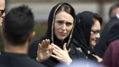 New Zealand's Prime Minister Jacinda Ardern gestures