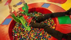 James Windle in lego pit