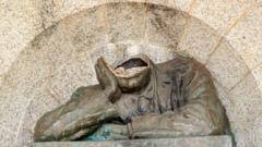 Damaged Rhodes statue