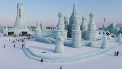 General view of ice sculpture works at Harbin Ice and Snow World