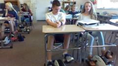 Classroom with pedals under their desks