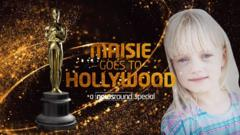 Maisie Sly and an Oscar trophy