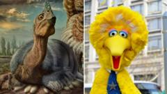 Composite image of dinosaur and big bird