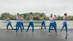 GB rowing team doing the 'Strictly'