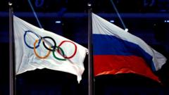 Russian flag and Olympic flag