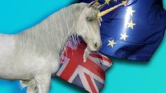 Unicorn in front of Brexit flags