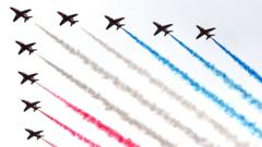 Red Arrows flying over Buckingham Palace, London in the Royal Air Force 100 flypast to mark the RAF's centenary.