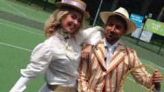 Hayley and Ricky dressed in old-school Wimbledon fashion