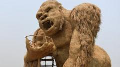 Ape sculptures made of straw