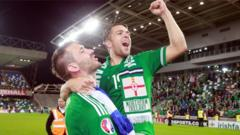Northern Ireland's Gareth McAuley and Jamie Ward celebrate their win over Greece