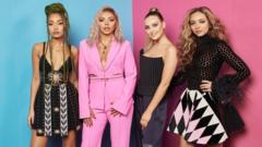Leigh-Anne Pinnock, Jesy Nelson, Perrie Edwards and Jade Thirlwall of Little Mix pose at the MTV EMAs 2018 studio at Bilbao Exhibition Centre on November 4, 2018 in Bilbao, Spain.