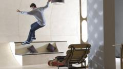 Skateboarder inside the half-pipe house room