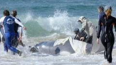 A rescued baby whale is returned to the sea off Australia's Gold Coast