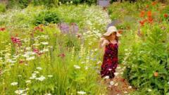 Girl walking in a meadow