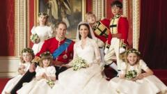 The bride and groom Prince William, Duke of Cambridge and Catherine, Duchess of Cambridge pose for an official photo with (clockwise from bottom right) The Hon. Margarita Armstrong-Jones, Miss Eliza Lopes, Miss Grace van Cutsem, Lady Louise Windsor, Master Tom Pettifer, Master William Lowther-Pinkerton, in the throne room at Buckingham Palace on April 29, 2011