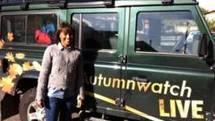 Leah with Autumnwatch vehicle