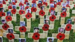 poppies on wooden crosses