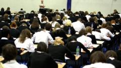 Pupils in an exam