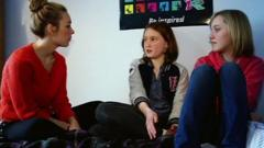 Hayley chatting to Moreven and her friend