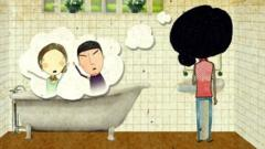 A cartoon bathroom scene. A girl is thinking about her parents arguing.