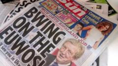 The sun headline 'bwing on the euwos'
