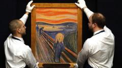 Two art handlers hold Munch's Scream artwork