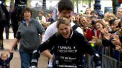 Claire Lomas crosses finish line