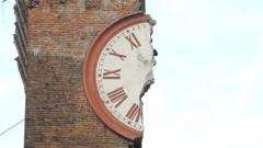 A destroyed clock tower.