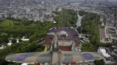 Plane taking part in the Jubilee flypast over Buckingham Palace